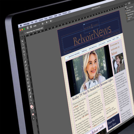 Screen shot of print Belvoir News in Adobe InDesign