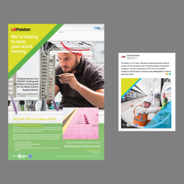 COVID-19 campaign print and social post examples we created for L.B. Foster